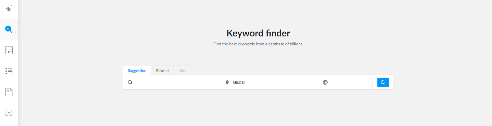 Keyword finder screenshot with search visible